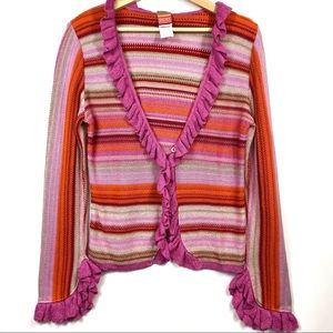 Vintage Oilily Striped Ruffle Cardigan Sweater